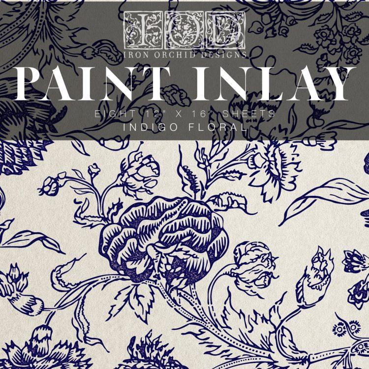 IOD Paint Inlay - Indigo Floral | www.raggedy-bits.com